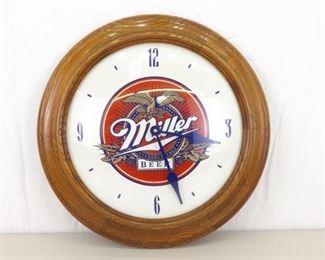 WORKING Wood Miller Beer Wall Clock