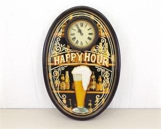 """WORKING Wood Embossed """"Happy Hour"""" Clock"""