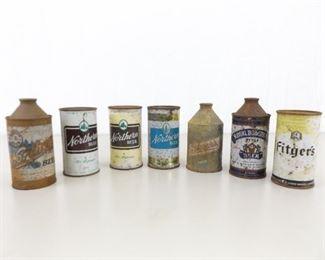 7 Antique Steel Cone Top etc. Beer Cans