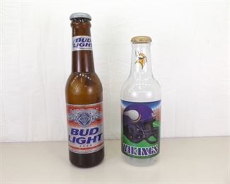2 Large Bud Light Beer and Vikings Coin Banks