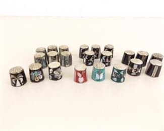 Collection of Abalone Inlayed Mexican Silver Thimbles