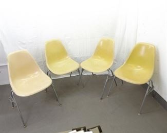 Lot of 4 Vintage Herman Miller Fiberglass Chairs