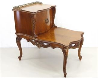 Vintage Carved Wood WOW End Table