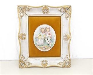 Antique Victorian Wood Framed Porcelain Royal Plaque