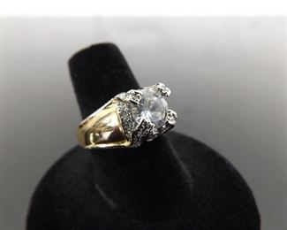 .925 Sterling Silver Cubic Zirconia Gold Vermeil WOW Ring Size 7