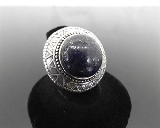 SILPADA .925 Sterling Silver Large Lapis Lazuli Cabochon Cocktail Ring Size 7