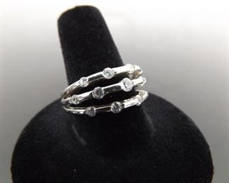 .925 Sterling Silver Cubic Zirconia cluster 3 band Ring Size 9.5