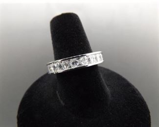 .925 Sterling Silver Cubic Zirconia Band Ring Size 7.5
