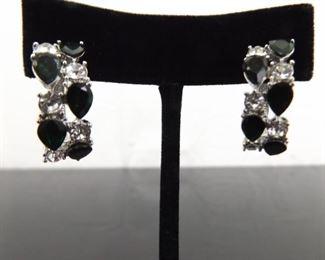 .925 Sterling Silver Pear Cut Emerald Crystal Hinged Clamp Post Earrings