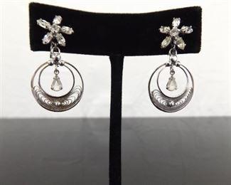 .925 Sterling Silver Flower Crystal Filigree Hoop Dangle Screw Back Earrings