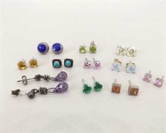 15.5 Grams of .925 Sterling Silver Post Earrings With Stones