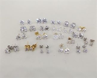 30 Grams of .925 Sterling Silver Post Earrings With Cubic Zirconia's