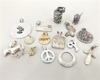 24.5 Grams of .925 Sterling Silver Charms and Small Pendants