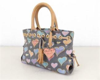 Authentic Dooney and Bourke Signature Tassel Scribble Doodle Hearts Handbag