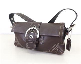 Authentic Brown Leather COACH Soho Baguette Shoulder Bag