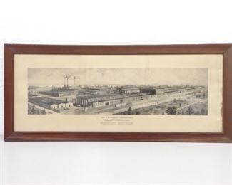 Antique Wood Framed Etching of The Wilson Corporation
