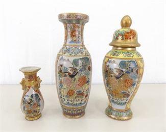 Lot of Asian Themed Gold Gilded Porcelain Vases