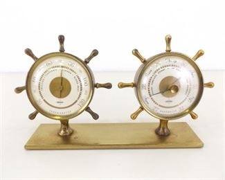 WORKING Vintage Brass Ships Wheel Desk Thermometer and Barometer
