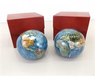 2 NEW in original Box Gemstone Globe Paperweights