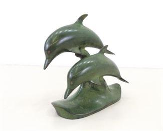 """9"""" Brass Dolphin Sculpture"""