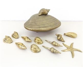 """11"""" Hinged Clam Shell with SOLID Brass Shell Accessories"""