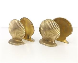 2 Sets of Solid Brass Clam Shell Bookends