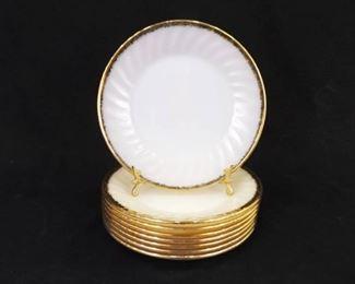8 Vintage FIRE KING White Swirl Gold Rim Salad Plates