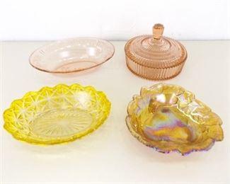 Lot of 4 Medium Depression/Colored Glass Serving Bowls