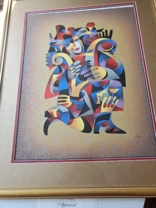 "Artist: Anatole Krasnyansky, Harp Dream II, 28 3/4""x 21 3/4, framed. Numbered, EXCELLENT piece! Have appraisal certificate"