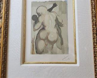 "Artist: Jean Estrade, Deaths by Violence, Salvador Dali, Wood engraving print, signed, numbered. Certificate of appraisal included. 10""x7"", framed"