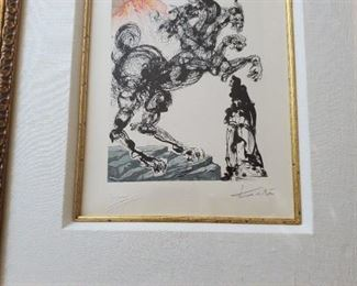 "Artist: Jean Estrade, Cerberus Inferno 6, Salvador Dali, Wood engraving print, signed, numbered. Certificate of appraisal included. 10""x7"", framed"