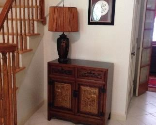 Antique Oriental Cabinet with matching Lamp and picture $800 or best offer