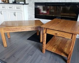 Solid oak hand crafted coffee and end tables~great quality tables
