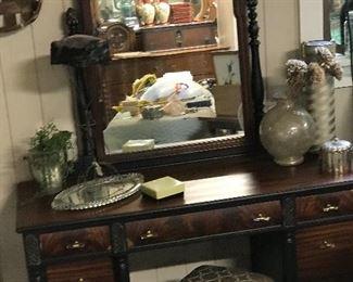 Walnut vanity with mirror