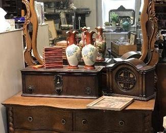 Oak serpentine and barley twist front dresser with mirror.