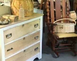 Ash 3 drawer chest.   Oak platform rocker