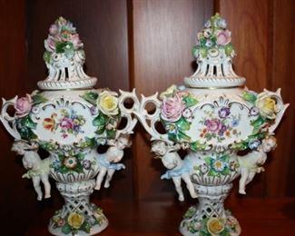 Gorgeous pair of Dresden Lidded Urns