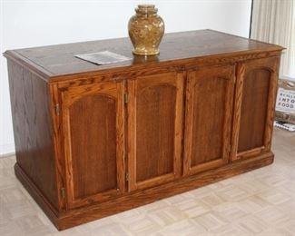 "large wine cooler cabinet - oak finish - 63"" w, 30"" d, 33"" t - $800"