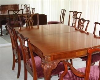 Beautiful fine quality Chippendale style  dining table with 8 chairs with buffet and china cabinet made by Andrew Malcolm - Dining table with 8 chairs and pads $1,750, Buffet $550, China cabinet $650.