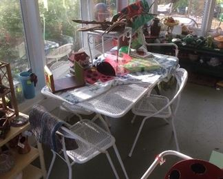 Folding metal table, four chairs, tea cart