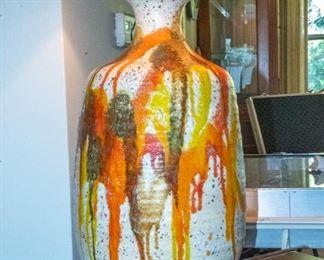 LARGE - 1960s Ceramic Orange Drip Lamp