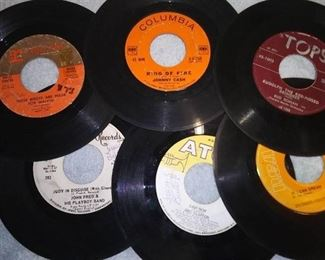 Assorted Vintage 45 rpm Records Including President Series - Herbert Hoover, Johnny Cash(Ring Of Fire),Elvis and Nancy Sinatra