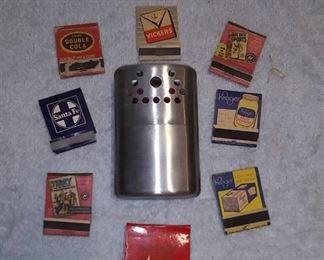 Hand Warmer & Vintage Matchbook Covers