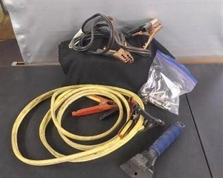 2 Sets Of Jumper Cables Ice Scraper