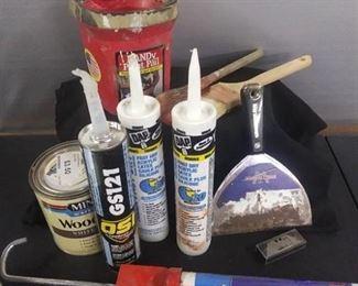 Paint Tray And 2 Paint Brushes ,Caulking, Caulk Gun Other Misc. Items