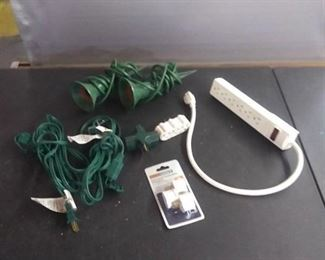 Power Strip, 2 Extension Cords , Yard Spike Lights , And Grounded Adapters