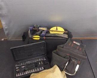 Socket set , Tool Hip Bag , Leather Work Gloves Other Misc. Items