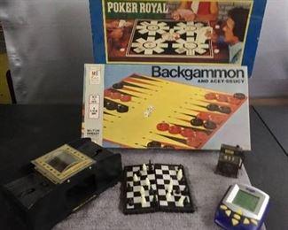 Games - 1979 Poker Royal/ 1973 Backgammon/ Card Shuffler/ Electronic Boggle/ Magnetic Chess & Slot Machine Pencil Sharpener