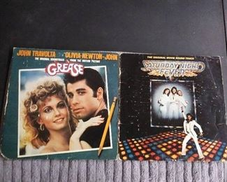 Vinyl Albums - 2 Soundtracks with Grease & Saturday Night Fever (has both selves but only one album)
