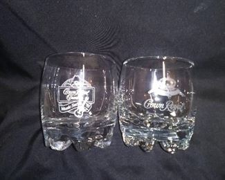 6 Crown Royal Glasses. 4 made in Italy
